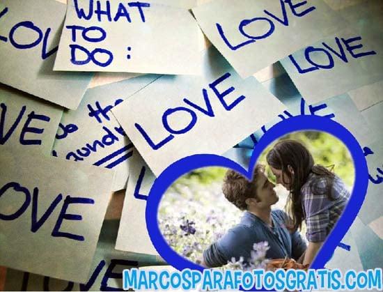 Marco De Corazon Azul Para Fotos