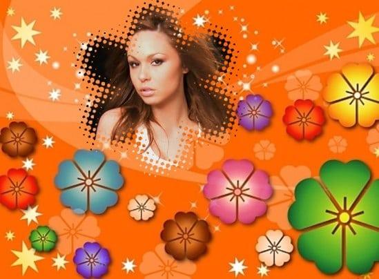 Marco de flores de colores para fotos