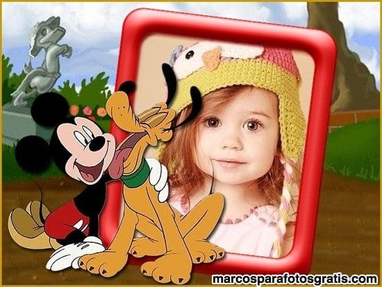 Marcos para fotos infantiles mickey y pluto en la playa - Marcos para fotos infantiles ...